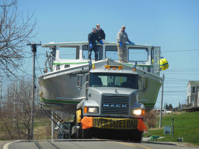 Maine lobster boat launching