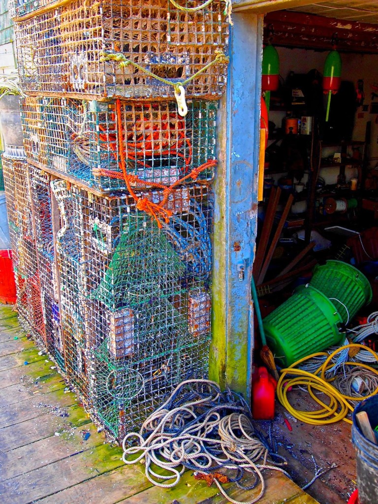 Stacked Maine lobster traps