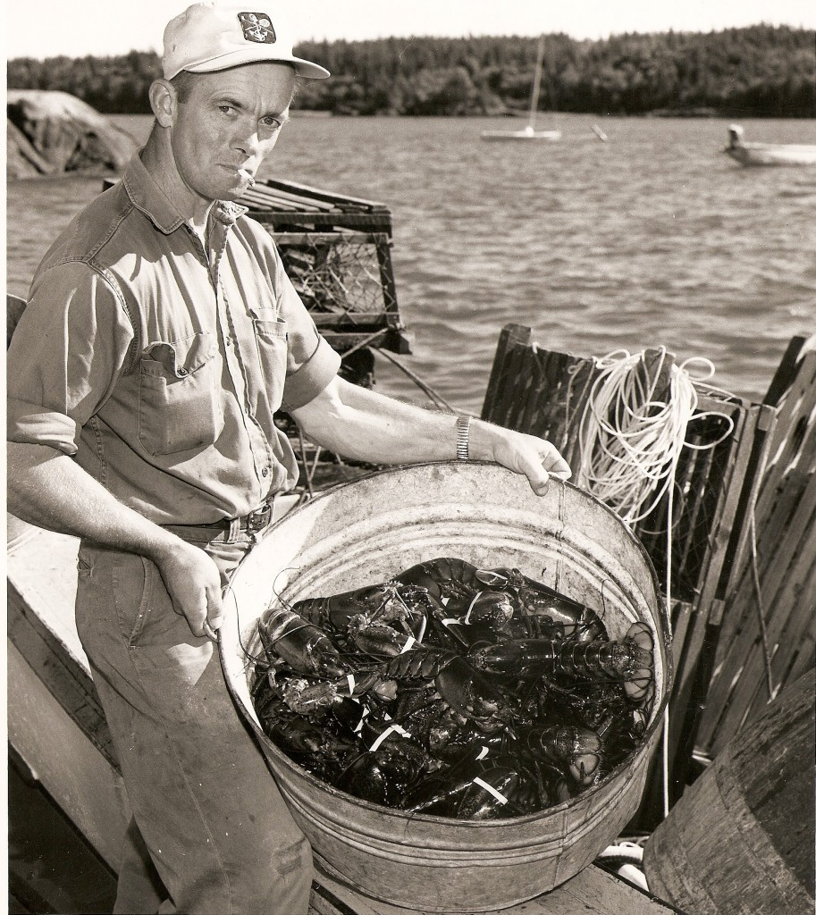 Black and white Maine lobster fisherman