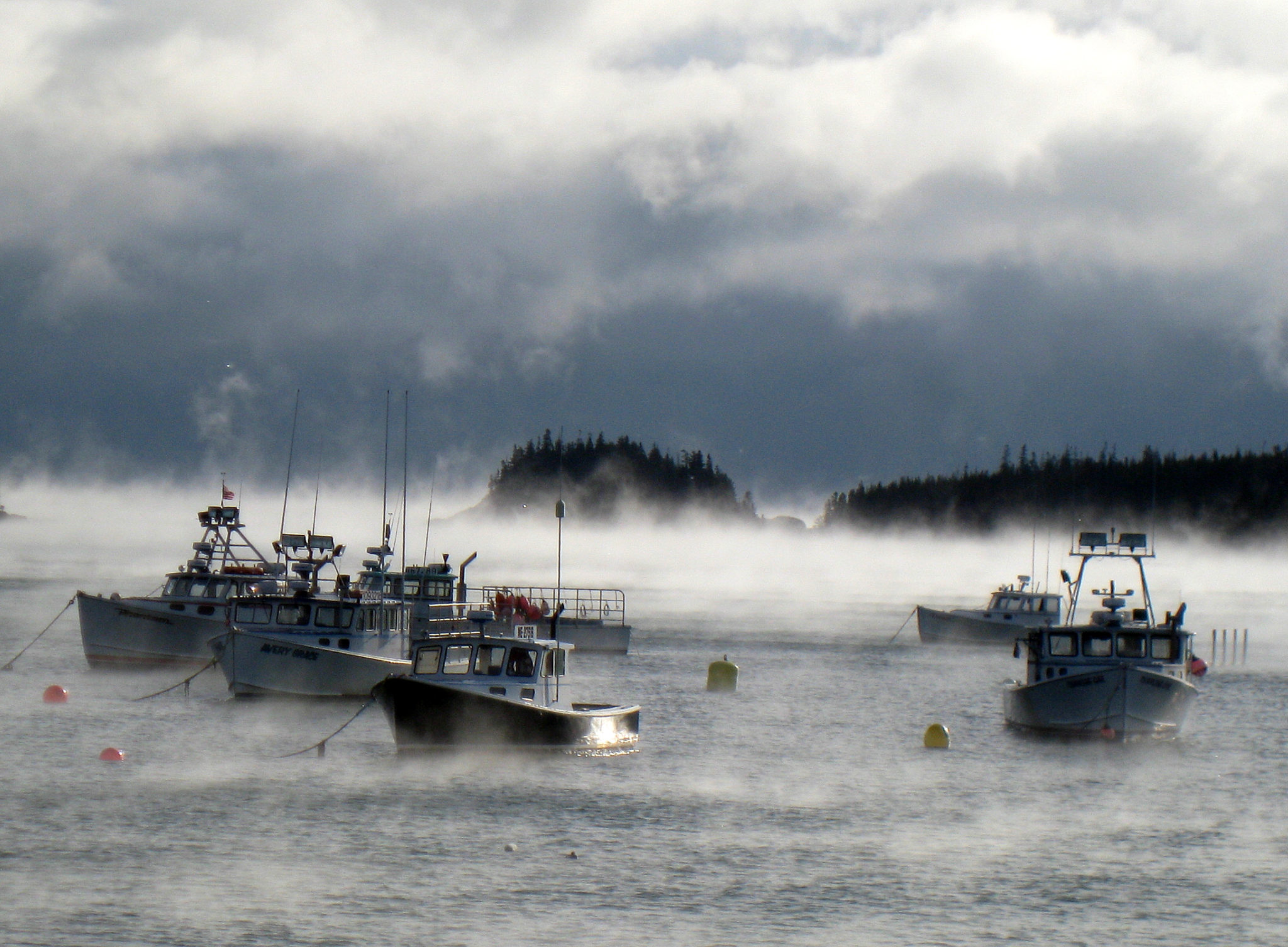 Maine lobster boats winter