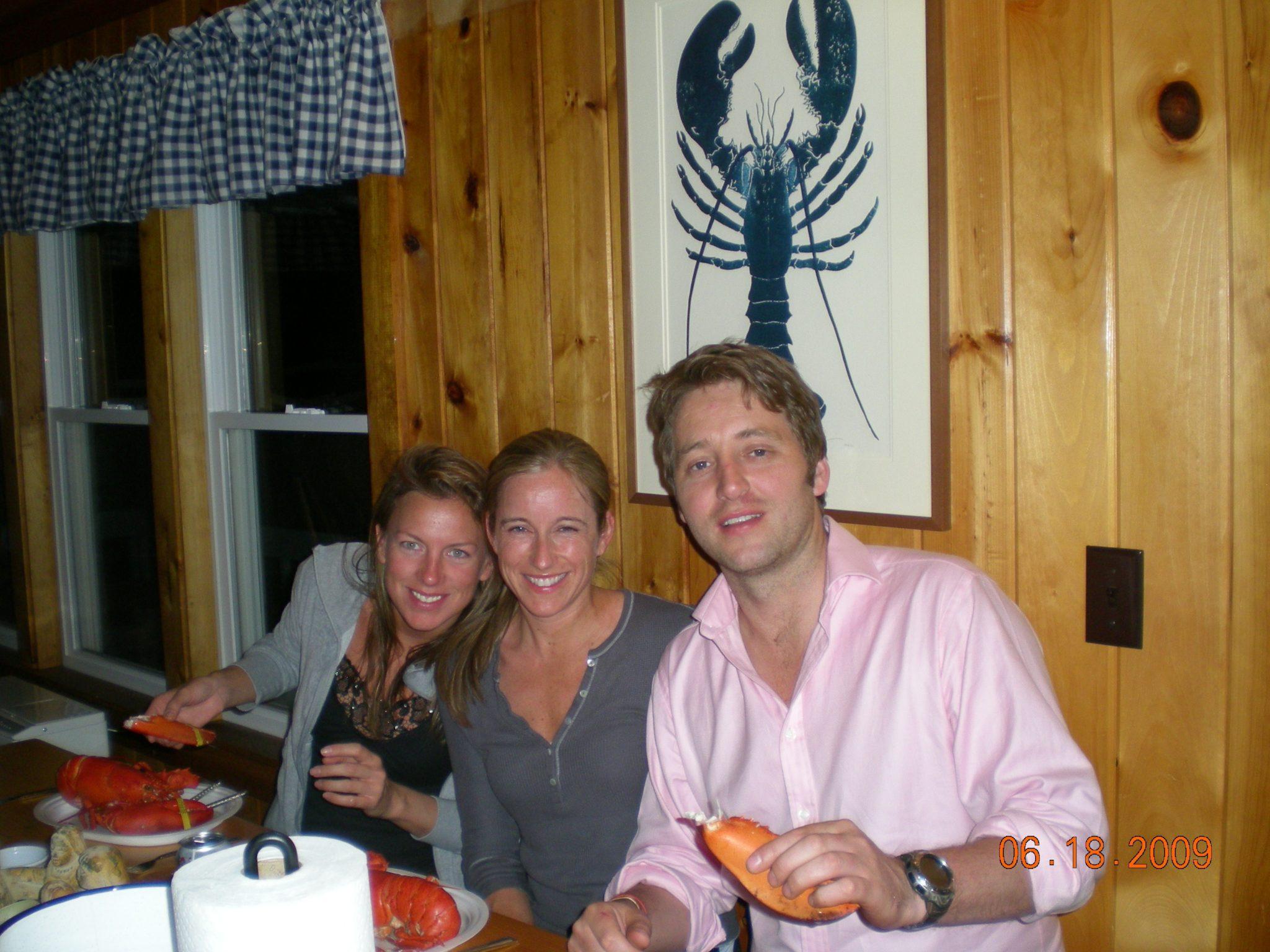 eating lobster dinner