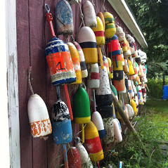 Lobster buoy shed stonington maine