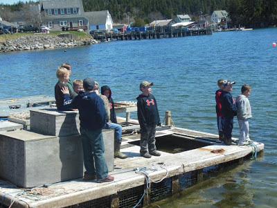 Lobster boat launching Downeast