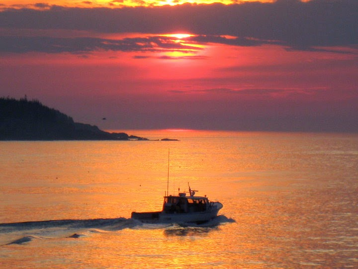 Maine lobster boat sunrise